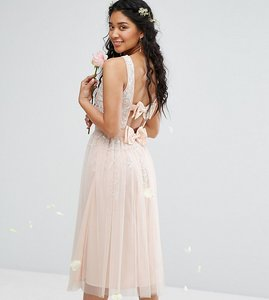 Read more about Maya embellished midi dress with double bow - nude