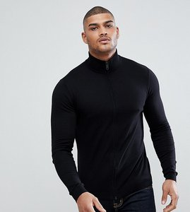 Read more about Asos tall knitted muscle fit track jacket in black - black