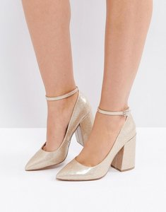 Read more about Asos pipeline pointed block high heels - gold patent glitter