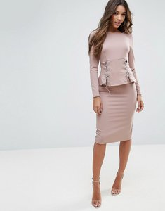 Read more about Asos midi dress with corset peplum detail - mink