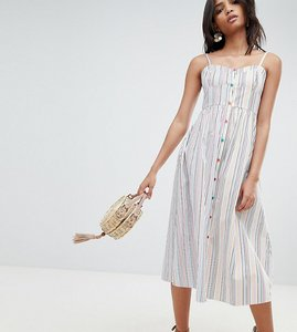 Read more about Reclaimed vintage inspired stripe button through sun dress - white