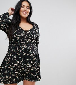 Read more about Brave soul plus byrony dress in floral print with lace insert - black