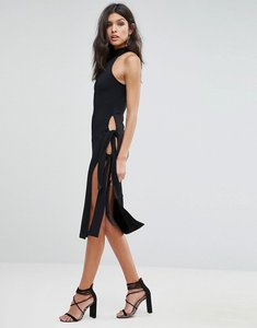 Read more about Asos high neck thigh tie midi dress - black