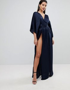 Read more about Flounce london wrap front kimono maxi dress with double thigh splits and bodysuit - navy