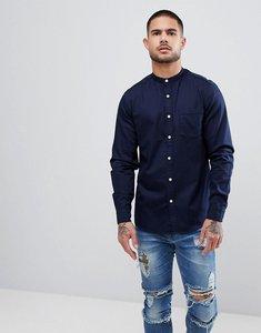 Read more about Asos design stretch slim denim shirt with grandad collar - navy