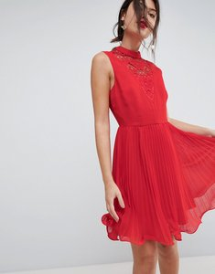 Read more about Asos sleeveless lace insert pleated mini dress - red