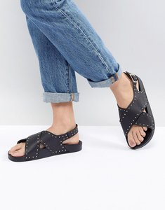 Read more about Office supernova black studded cross front sandals - black
