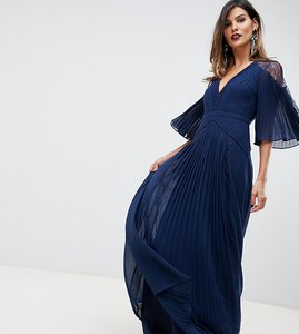 Read more about Asos design pleated panelled flutter sleeve maxi dress with lace inserts