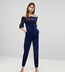 Read more about Paper dolls tall bardot cutwork lace tailored jumpsuit - navy