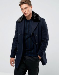 Read more about French connection double breasted wool coat with faux fur collar - navy