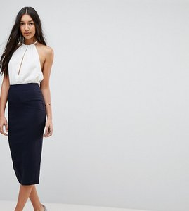 Read more about Asos tall high waisted longerline pencil skirt - navy