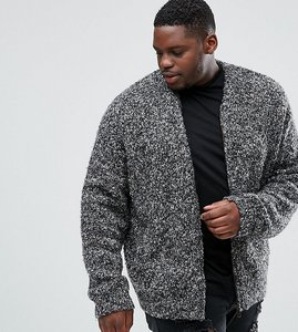 Read more about Asos plus heavyweight knitted textured bomber in charcoal - charcoal