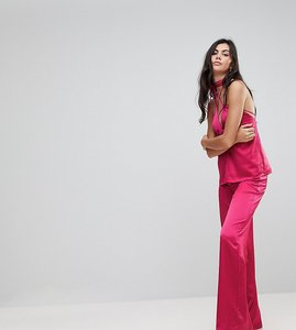 Read more about Glamorous tall wide leg trousers in satin - hot pink