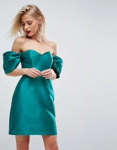 Read more about Asos bardot structured cocktail mini dress - emerald