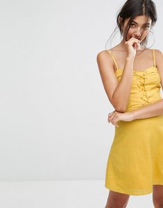 Read more about Bershka lattice front dress - yellow