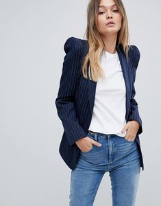 Read more about Asos tailored pinstripe blazer with shark shoulder - stripe
