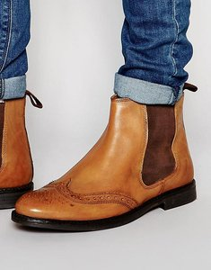 Read more about Red tape brogue chelsea boots - tan