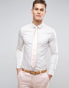 Read more about Asos skinny wedding shirt in off white sateen - white