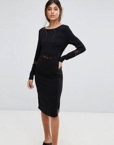 Read more about Gestuz emira lace insert bodycon dress - black