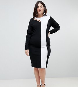 Read more about Asos curve colour block midi bodycon dress with asymmetric sleeve and lace up detail - multi