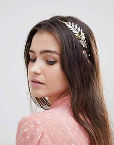 Read more about Asos design floral leaf side headband - gold