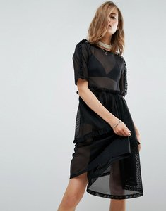 Read more about Asos t-shirt dress in mesh with frill detail - black