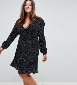 Read more about Glamorous curve wrap front dress in spot - black