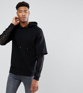 ac372c79b6cf76 Read more about Asos tall oversized hoodie with double layer lace sleeve -  black
