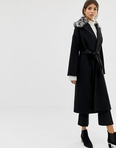 Read more about Helene berman wool blend revere leopard collar coat - black