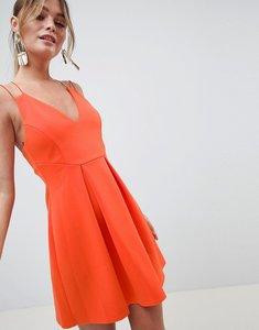 Read more about Asos design strappy skater mini dress - hot orange