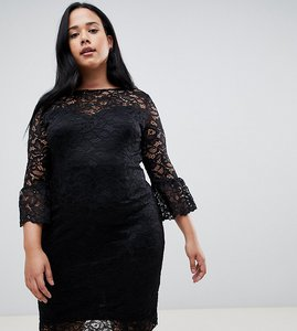 Read more about Paper dolls plus lace midi dress with frill sleeve in black