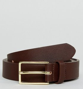 Read more about Asos plus smart faux leather slim belt in brown - brown