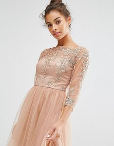 Read more about Chi chi london petite allover premium embroidered lace mini dress with tulle skirt - tan