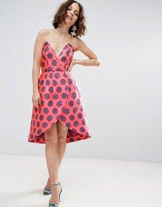 Read more about Asos salon fluro jacquard bandeau wrap front mini dress - multi