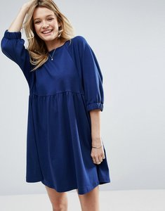 Read more about Asos cotton smock dress with elastic cuff detail - navy