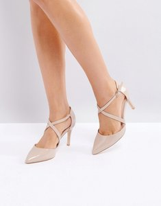 Read more about London rebel cross over mid height point high heels - nude patent