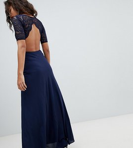 Read more about John zack tall lace open back maxi dress - navy