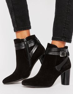 Read more about H by hudson leather strap heel boots - black suede