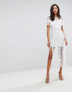 Read more about Stevie may embroidered floral lace midi dress - white