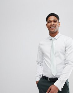 Read more about Asos design wedding slim herringbone shirt with double cuff in mint - mint