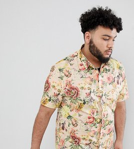 Read more about Asos design plus slim floral printed shirt in off white - white