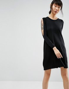 Read more about Asos dress in knit with cold shoulder detail - black