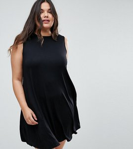 Read more about Asos curve sleeveless swing dress - black
