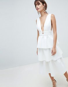 Read more about Asos design deep plunge tiered midi prom dress - ivory