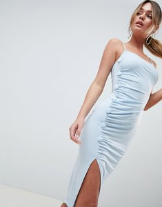 Read more about Asos design button through slinky midi dress - pale blue