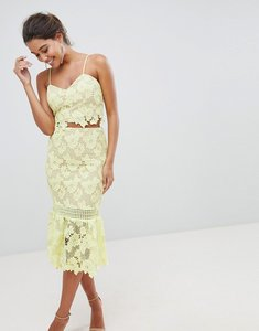 Read more about Love triangle cutwork lace pencil skirt with fluted lace - yellow