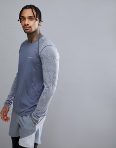 Read more about Nike running breathe miler long sleeve top in grey with arm print 904665-451 - grey