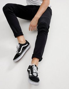 Read more about Only sons skinny jeans with distressed biker knees - black denim