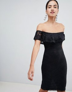 Read more about Ax paris bardot frill overlay lace midi dress - black