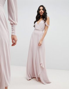 Read more about Tfnc cold shoulder wrap maxi bridesmaid dress with fishtail - mink
